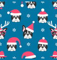 seamless pattern with french bulldogs with santa vector image vector image