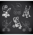 set hand drawn baby carriage stroller baby vector image vector image
