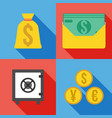 set of 4 money icon flat vector image