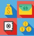 set of 4 money icon flat vector image vector image