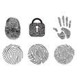 set of fingerprint flat line icons vector image