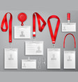set realistic badges id cards on red lanyards vector image vector image