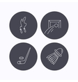 Skipping rope football and ice hockey icons vector image vector image