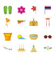 Songkran thailand festival celebration icons vector image