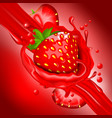 splash of strawberry juice in motion vector image vector image