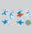 sticker set with funny sharks in cartoon style vector image
