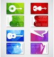 Template music polygonal cards vector image vector image