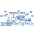 usa alabama montgomery winter city skyline vector image vector image