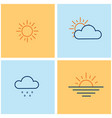 weather line icons set with sun clouds rain vector image