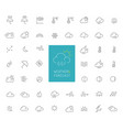 50 weather and forecast thin line icons vector image
