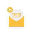 24 years anniversary icon in open letter vector image