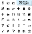 33 black media icons vector image vector image