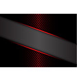 abstract gray banner red metallic line on dark vector image vector image