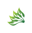 abstract leaves hand save nature logo icon concept vector image vector image