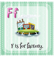 alphabet f is for factory vector image