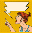 angry woman threatens finger vector image vector image