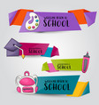 back to school concept horizontal banner template vector image vector image