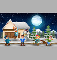 cartoon kids playing in front of the snowing house vector image