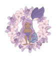 chocolate mermaid floral flower wreath illu vector image vector image