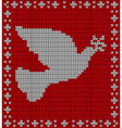 Christmas knitting dove pattern vector image