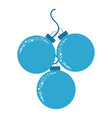 combination of the three christmas ornaments vector image