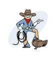 cool smiling cowboy vector image