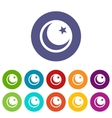 Crescent and star set icons vector image