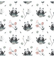 cute raccoons seamless pattern vector image