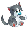 cute wolf - old children stuffed toy with patch vector image