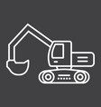 excavator line icon transport and vehicle digger vector image vector image