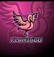flamingo esport mascot logo design vector image
