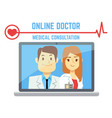 flat male and female online doctor internet vector image
