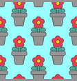 flower in pot seamless pattern homemade plant red vector image vector image