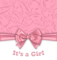 girl bashower invitation card with pink bow vector image
