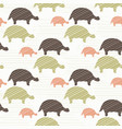 green brown and pink tortoise silhouette seamless vector image