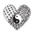 Hand drawn heart with Yin yang symbol vector image