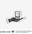 hand holding a tablet pad with sheet of paper vector image