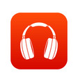 headphones icon digital red vector image vector image
