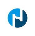 initial letter n logo n and blue circle shape vector image