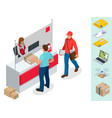 isometric post office concept young man waiting vector image vector image