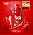 juice tomato ads with logo and label realistic vector image vector image