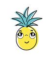 kawaii cute thinking pineapple vegetable vector image vector image