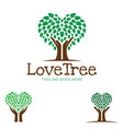 love tree or care tree logo design set vector image