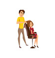 male hairdresser making hairstyle to young woman vector image vector image