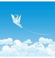 paper origami crane against blue sky vector image