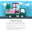 poster of truck with furniture on the road vector image