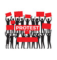 protest group protester silhouette on white vector image