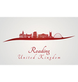 Reading skyline in red vector image vector image
