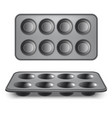 realistic 3d detailed pan for cupcakes set vector image vector image