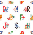 seamless pattern with colorful letters english vector image vector image